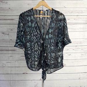 Mimi Chica blue black sheer ruffle waist tie top